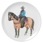 Cowboy and Horse Dinner Plates