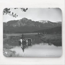 Cowboy and horse in a pond mouse pad