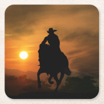 Cowboy and Horse in the Sunset Coasters
