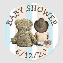 Cowboy and Teddy Bear  Baby Shower Stickers