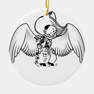 Cowboy Angel Double-Sided Ceramic Round Christmas Ornament