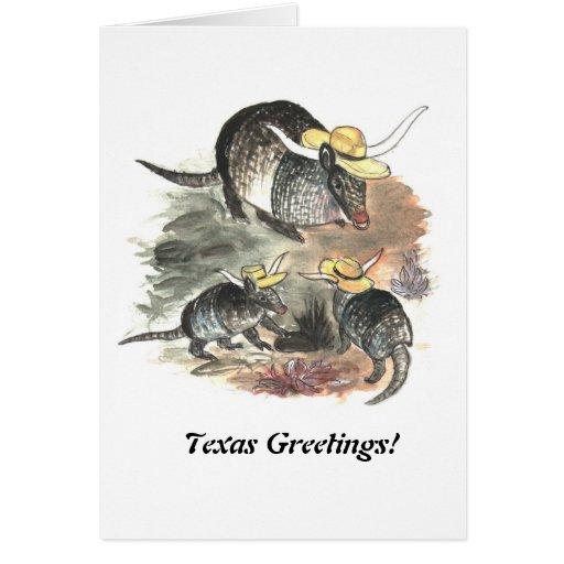 Cowboy Armadillo Family Greeting Card