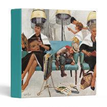 Cowboy Asleep in Beauty Salon 3 Ring Binder