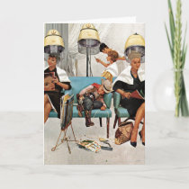 Cowboy Asleep in Beauty Salon Card