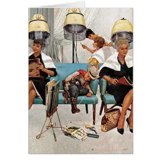 Cowboy Asleep in Beauty Salon Card