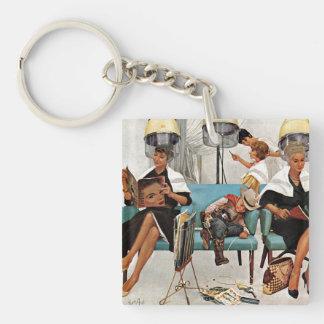 Cowboy Asleep in Beauty Salon Double-Sided Square Acrylic Keychain