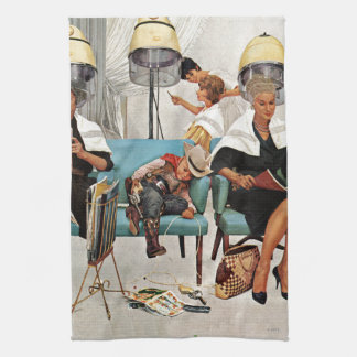 Cowboy Asleep in Beauty Salon Hand Towel