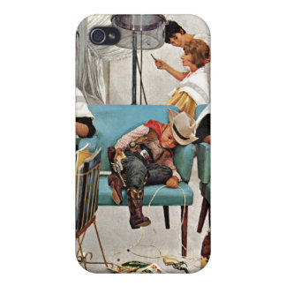 Cowboy Asleep in Beauty Salon iPhone 4/4S Covers