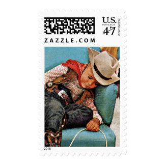 Cowboy Asleep in Beauty Salon Postage