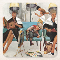 Cowboy Asleep in Beauty Salon Square Paper Coaster