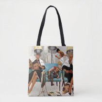 Cowboy Asleep in Beauty Salon Tote Bag