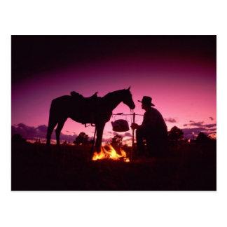Cowboy at a Sunset Campfire Postcard