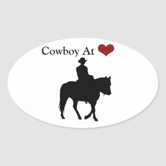 Cowboy at Heart Personalized Oval Sticker