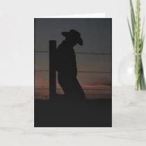 Cowboy at sunset card