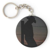 Cowboy at sunset keychain