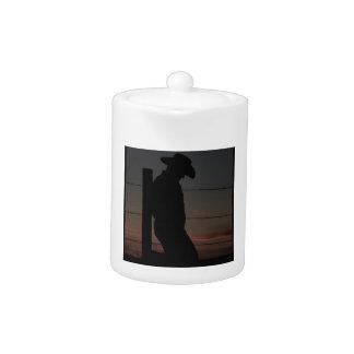 Cowboy at sunset teapot