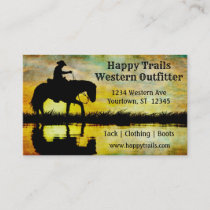 Cowboy at Sunset Western Ranch Horse Business Card