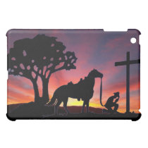 Cowboy at the Cross Western iPhone Case Shell Art Cover For The iPad Mini