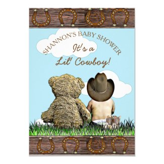 Cowboy Baby and Teddy Bear Baby Shower Invitation
