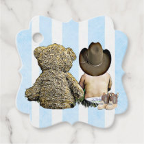 Cowboy Baby and Teddy Bear Gift Tag