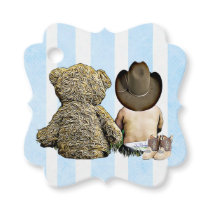 Cowboy Baby and Teddy Bear Gift Tag