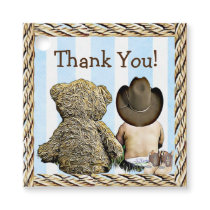 Cowboy Baby and Teddy Bear Thank You Favor Tags