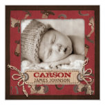 "Cowboy Baby Announcement Square 5.25"" Square Invitation Card"