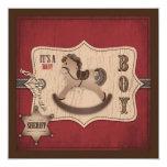 Cowboy Baby Invitation Square
