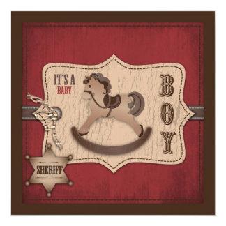 """Cowboy Baby Invitation Square 5.25"""" Square Invitation Card"""