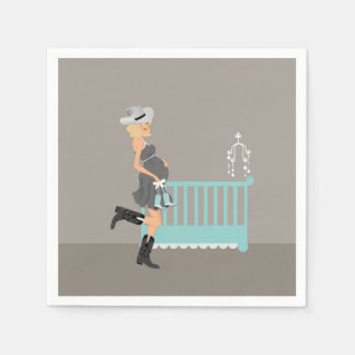 Cowboy Baby Shower -Blonde - Country Western Theme Paper Napkin