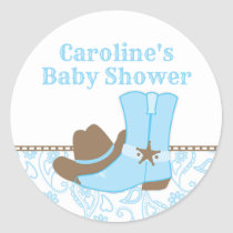 Cowboy Baby Shower Blue and Brown Classic Round Sticker