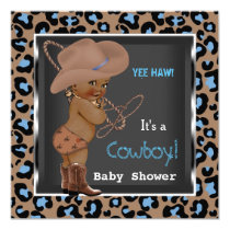 Cowboy Baby Shower Boy Blue Brown Ethnic Card