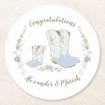 Cowboy Baby Shower Country Western Blue Boy Round Paper Coaster