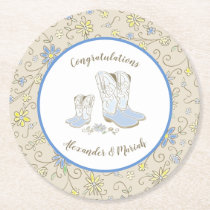Cowboy Baby Shower Country Western Blue Boy Round Paper Coaster
