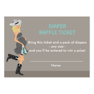 Cowboy Baby Shower Diaper Raffle Tickets - Blonde Large Business Card