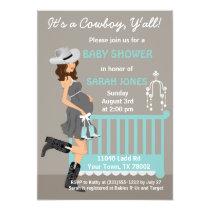 Cowboy Baby Shower Invitation - Brunette Western