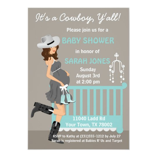 Cowboy Baby Shower Invitation Brunette Western Zazzle Com