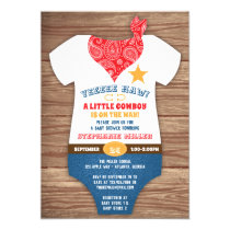 Cowboy Baby Shower Invitation, Cow Print, Paisley Invitation
