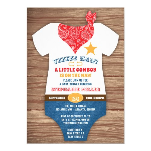 Cowboy Baby Shower Invitation Cow Print Paisley Invitation