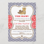 """Cowboy Baby Shower Invitation Navy and Red Paisley<br><div class=""""desc"""">Cute western baby shower invitation design in navy blue, red and brown on a paisley and gingham background. Additional color schemes and versions of this design are available in our shop, as well as coordinating items. Contact us if you need this design applied to a specific product! Thank you so...</div>"""