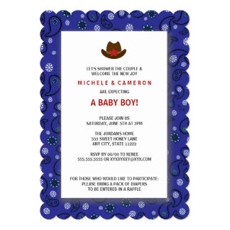 Cowboy Baby Shower Invite WESTERN BLUE BANDANA