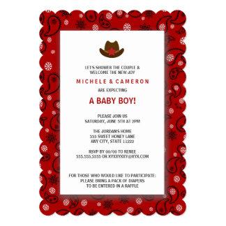 Cowboy Baby Shower Invite WESTERN RED BANDANA