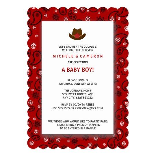 Cowboy Baby Shower Invite WESTERN RED BANDANA Zazzlecom