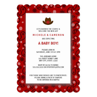 "Cowboy Baby Shower Invite WESTERN RED BANDANA 5"" X 7"" Invitation Card"