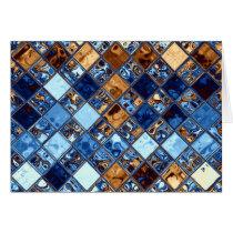 Cowboy Bandana Blue Mosaic Pattern Original Art
