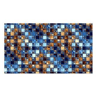 Cowboy Bandana Blue Mosaic Pattern Original Art Business Card