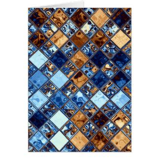 Cowboy Bandana Blue Mosaic Pattern Original Art Card