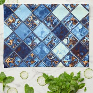 Cowboy Bandana Blue Mosaic Pattern Original Art Kitchen Towels