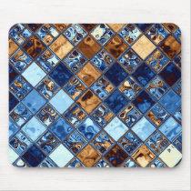 Cowboy Bandana Blue Mosaic Pattern Original Art Mouse Pad