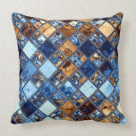Cowboy Bandana Blue Mosaic Pattern Original Art Pillow